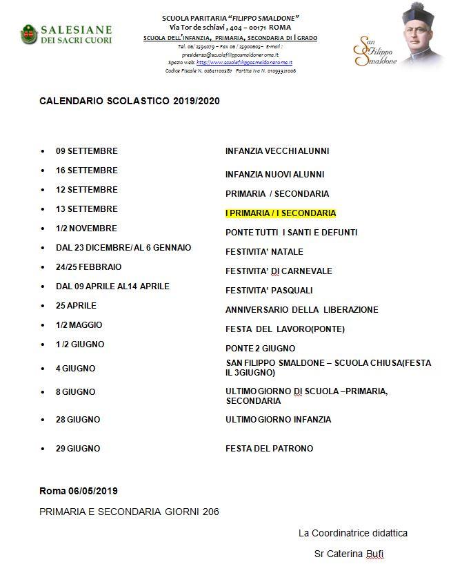 Calendario Da Settembre 2019 A Giugno 2020.Calendario Scolastico Istituto Filippo Smaldone Roma