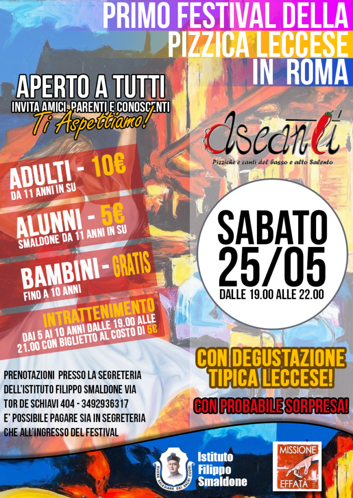 Calendario Pizzica.Festival Della Pizzica Leccese Istituto Filippo Smaldone Roma